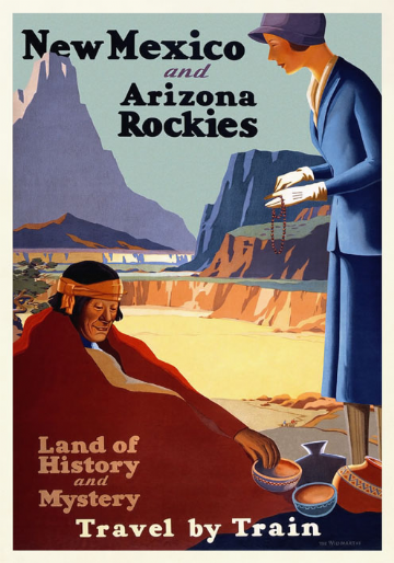Vintage Travel Poster, New Mexico and Arizona Rockies